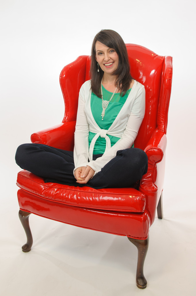 me in red chair